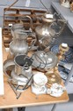 Three pieces of pewter, silver plate coffee pot,