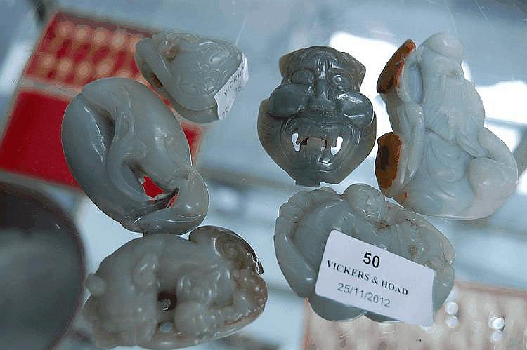 Six pieces of Chinese carved jade, (6) in total