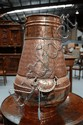 Copper  brass swing handled pot, 46.5 cm H