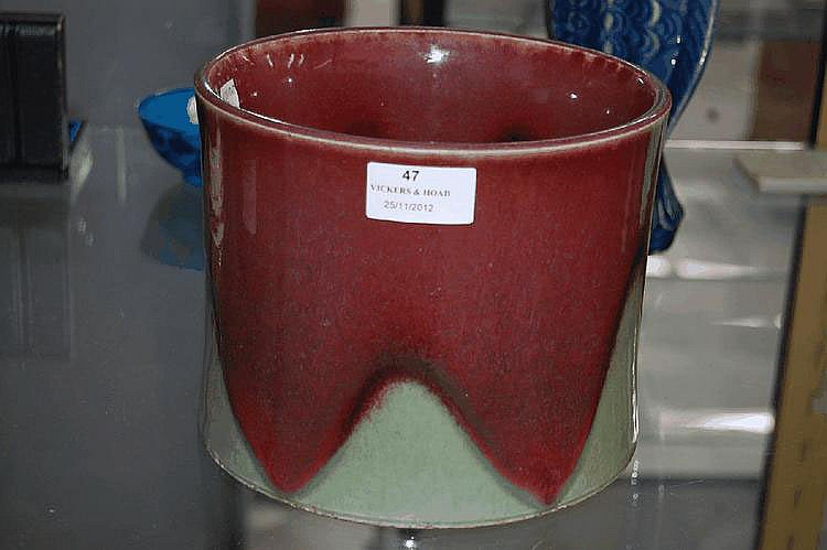 Chinese porcelain brush pot, with red and celadon