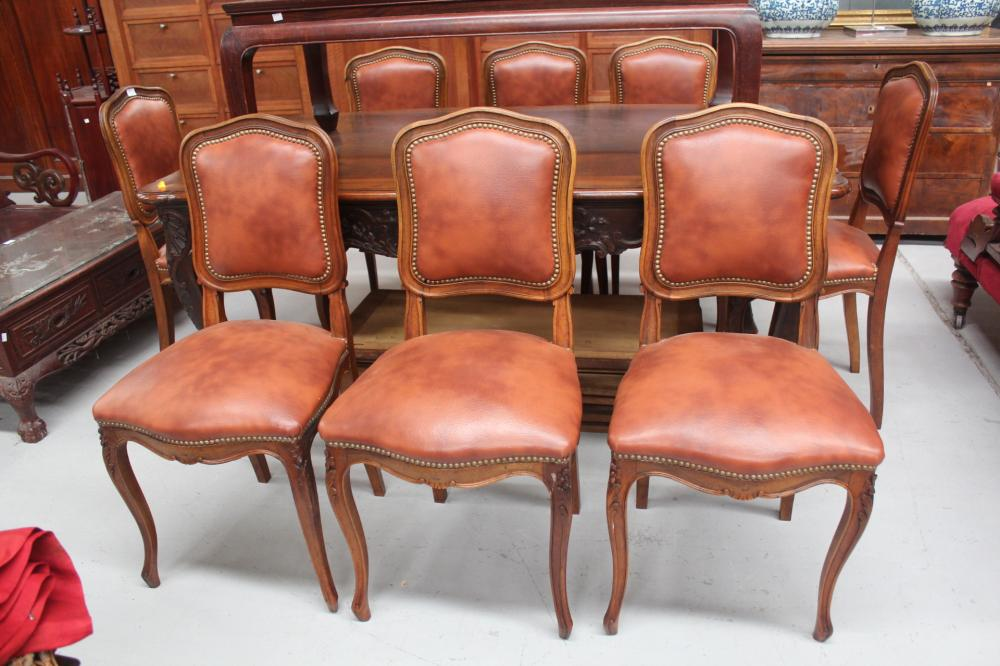 Super Set Of Eight French Brown Leather Studded Dining Chairs 8 Creativecarmelina Interior Chair Design Creativecarmelinacom
