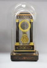 Antique 19th century French portico clock under glass dome, no key, has pendulum, approx 64cm H overall