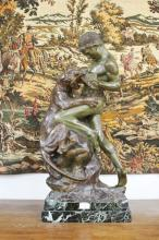 Late 19th century French bronze sculpture of a man fighting a tiger set on a Verdi marble base. Signed to the base E.Drouot and with the Paris foundry stamp, approx 74 H