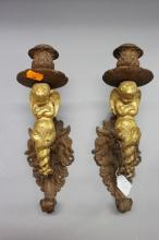 Pair of antique French cast iron & gilt painted wall lamps, with cherubs, each approx 28cm H (2)