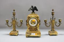 Fine antique French Siena marble mantle clock & garnitures, clock decorated with Eagle, approx 30cm H