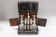 Antique French Napoleon III liquor box with glasses & decanters, approx 27cm H x 33cm W x 24cm D