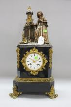 Antique French figural bronze mantle clock, has key and pendulum (in office), approx 50cm H x 26cm W 14cm D