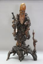 Large antique 19th Century Chinese sectional carved Immortal figure, root & boxwood, approx 65cm H