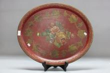 Antique 19th century French maroon tin tray decorated with flowers, approx 61cm x 51cm