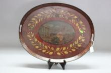 Antique French early 19th century maroon ground painted tin tray, decorated with classical scene in oval to the centre, approx 53cm x 43cm circa 1820's