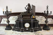 Antique French Large & Impressive figural mantle clock & garnitures, no key, has pendulum, approx 70cm H x 75cm W x 27 D (3)