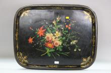 Antique French tole ware tray, with hand painted sprays of flowers, approx 67cm L x 55cm W