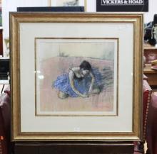 William Boissevain (1927-.) Australia, Ballerina, blue tutu / dress, signed lower right, approx 45cm x 48cm