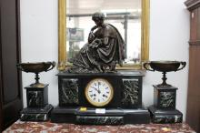Antique French figural mantle clock with garnitures, has key and pendulum (in office), approx 50cm H x 43cm W (3)