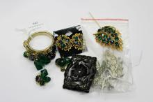 Assortment of vintage costume jewellery to include Mareasite style brooches, etc