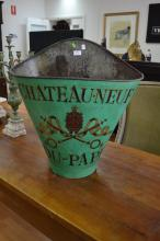 Antique French grape picking hopper, decorated with armorial crest & Chateauneuf Du Pape, in green, with leather straps, approx 64cm H x 62cm X 39cm D