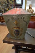 Antique French grape picking hopper, decorated with armorial crest & Chateau de la Durandiere, in grey, with leather straps, approx 64cm H x 62cm X  39cm D