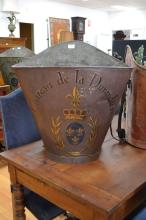 Antique French grape picking hopper, decorated with armorial crest & Chateau de la Durandiere, in brown, with leather straps, approx 64cm H x 62cm X 39cm D