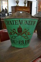 Antique French grape picking hopper, decorated with armorial crest & Chateauneuf Du Pape, in green, no straps, approx 64cm H x 62cm X  39cm D