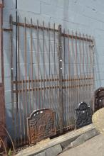 Pair of antique French rounded flat bar gates, with spear tips, approx 197cm H x 100cm W each (2)