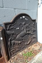 Antique French cast iron fireback, cast in relief with deer and hounds, approx 62cm H x 68cm W