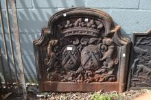 Antique cast iron fireback, cast in relief with a crown and armorial crest, approx 72cm H x 77cm W