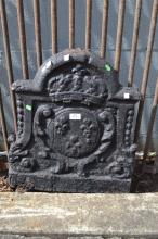 Antique French cast iron fireback, cast in relief with a crowned armorial crest, approx 56cm H x 50cm W