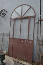 Antique French wrought iron entrance door & frame with original fan form section to top, approx 270cm H x 136cm W