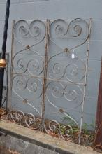 Pair of antique French iron side gate panels, approx 127cm H x 49cm W  (2)