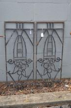 Pair of French wrought iron Art Deco panels, approx 85cm x 34cm  (2)