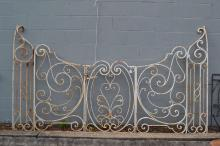 Old French wrought  iron gate set, comprising entrance gates and side panels, along with a single side gate, approx 155cm H x 275cm W (5)