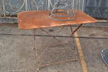 Antique French metal garden table, rectangular shape with folding base, approx 71cm H x 109cm W x 70cm D