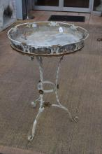 Antique circular French wrought iron and tin lined jardiniere table, approx 85cm H x 58cm Dia