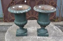 Pair of antique French cast iron garden urns, 38cm H x 26cm Dia (2)