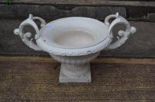 Antique French cast iron twin handled garden urn, approx 38cm H x 65cm W