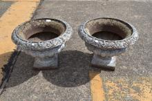 Pair of antique French cast iron garden urns, roll over rims, egg and dart centre decoration in relief, all standing on square bases, approx 34cm H x 45cm Dia (2)