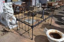 Antique wrought iron babies cot with gilt knobs, approx 98cm H x 141cm L x 80cm D