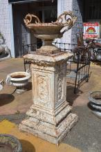 Large antique cast iron pedestal, with stepped decorated base, along with an antique French cast iron garden urn, approx 155cm H (2)