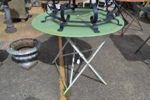 Antique French green painted, metal folding garden table, approx 74cm H x 96cm Dia