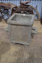 Large French concrete twin handled garden pot, of naturalistic form, approx 66cm H x 68cm W x 51cm D