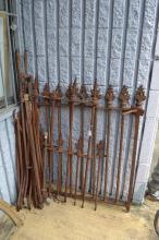 Single antique Victorian cast iron part fence, from an old Colonial Federation property along with another and extra pieces, approx 110cm H x 87cm W