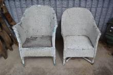 Pair of painted white distressed wicker chairs (2)