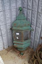 Old Persian inspired pierced tin suspension lantern, approx 74cm H