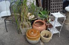 Garden chair & plants, pots, lidded bread crock, plant stand, etc