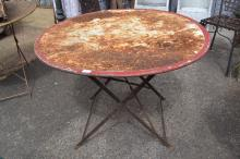 Antique French circular metal garden table, with folding base, approx 70cm H x 100cm dia