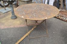 Antique French circular garden table, with folding base, approx 70cm H x 100cm dia
