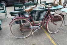 Barn find - Vintage French ladies bicycle in maroon, approx 170cm L
