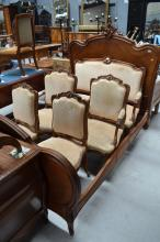 Antique French Louis XV style carved walnut double bed, approx 154cm H x 200cm L x 150cm W
