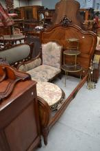 Antique French carved walnut Louis XV style bed, approx 160cm H x 200cm L x 154cm W