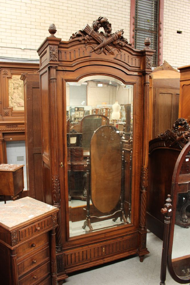 antique french henri ii single armoire approx 247cm h x 104. Black Bedroom Furniture Sets. Home Design Ideas